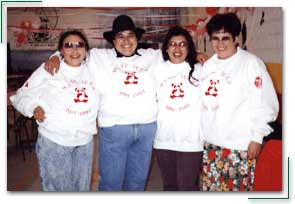 Margaret McIntyre (Dene translator), Margaret Lambert		(student), Mary Rose Opekokew (instructor), Marie McCallum (Administrator), Meadow Lake Tribal Council partnership		program, Flying Dust Reserve, Saskatchewan.