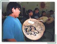 Little Drummers group at an honouring ceremony for 		program graduates at Tl'azt'en Nation partnership program, Tache, British Columbia